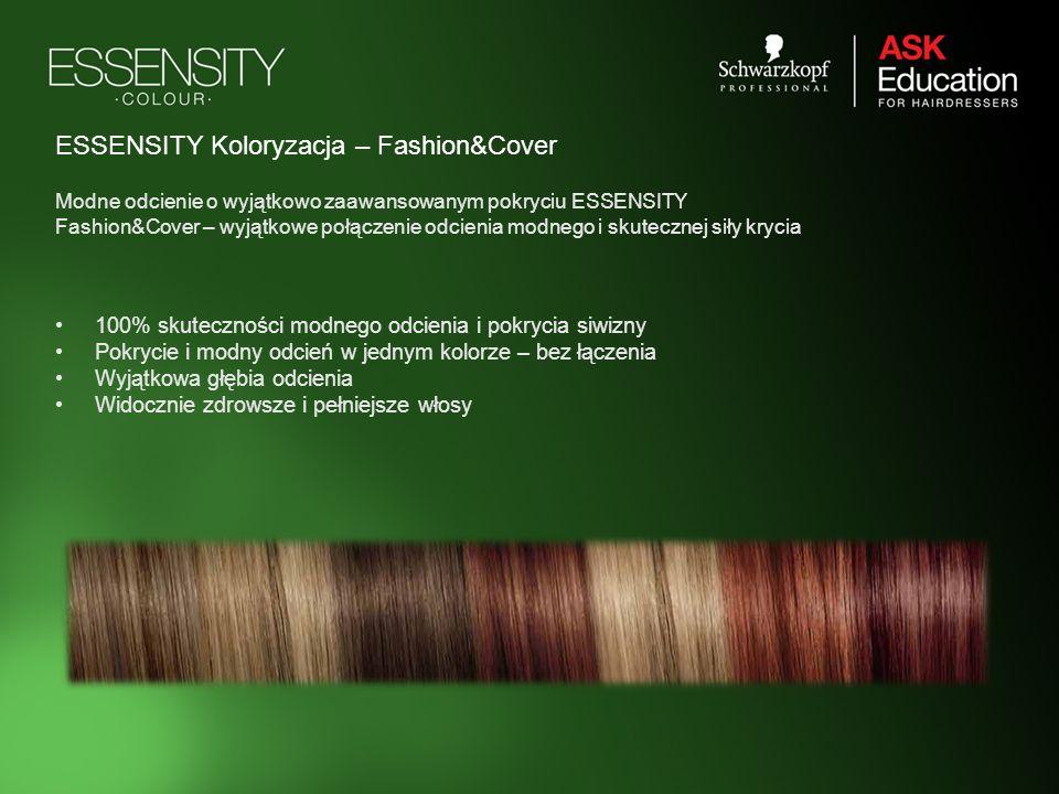 ESSENSITY Koloryzacja – Fashion&Cover 100% skuteczności modnego odcienia i pokrycia siwizny Pokrycie i modny odcień w jednym kolorze – bez łączenia Wy