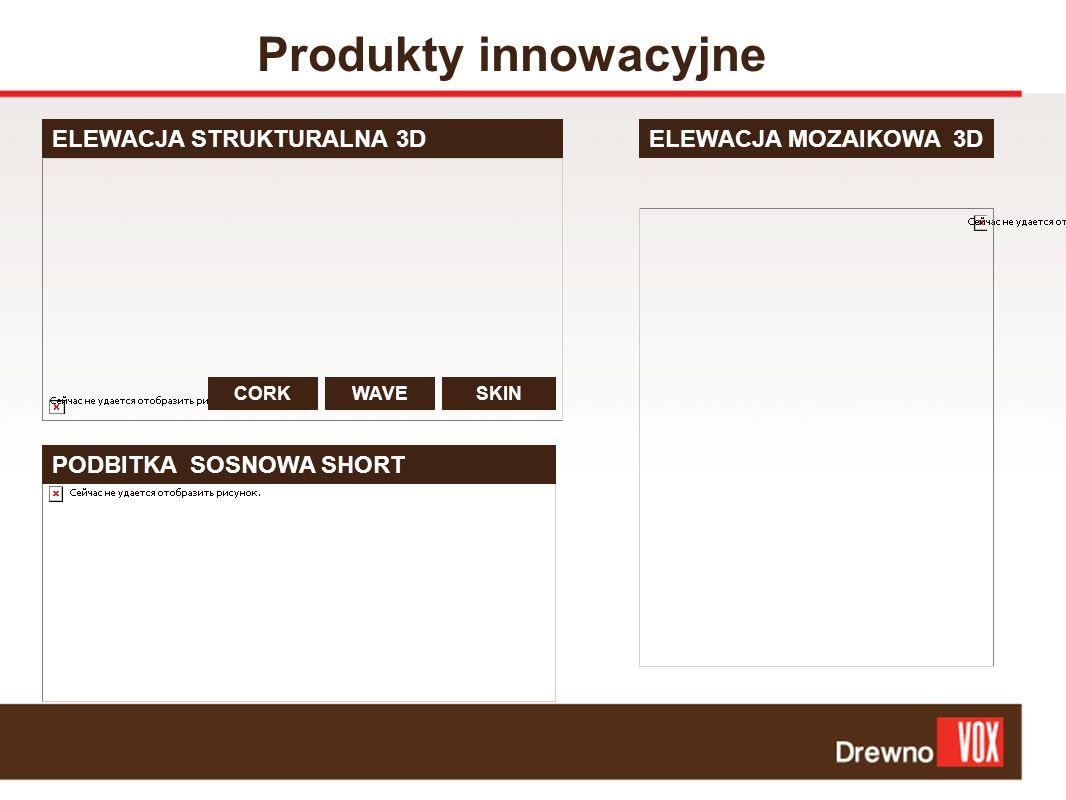 Produkty innowacyjne ELEWACJA STRUKTURALNA 3D PODBITKA SOSNOWA SHORT ELEWACJA MOZAIKOWA 3D CORKWAVESKIN