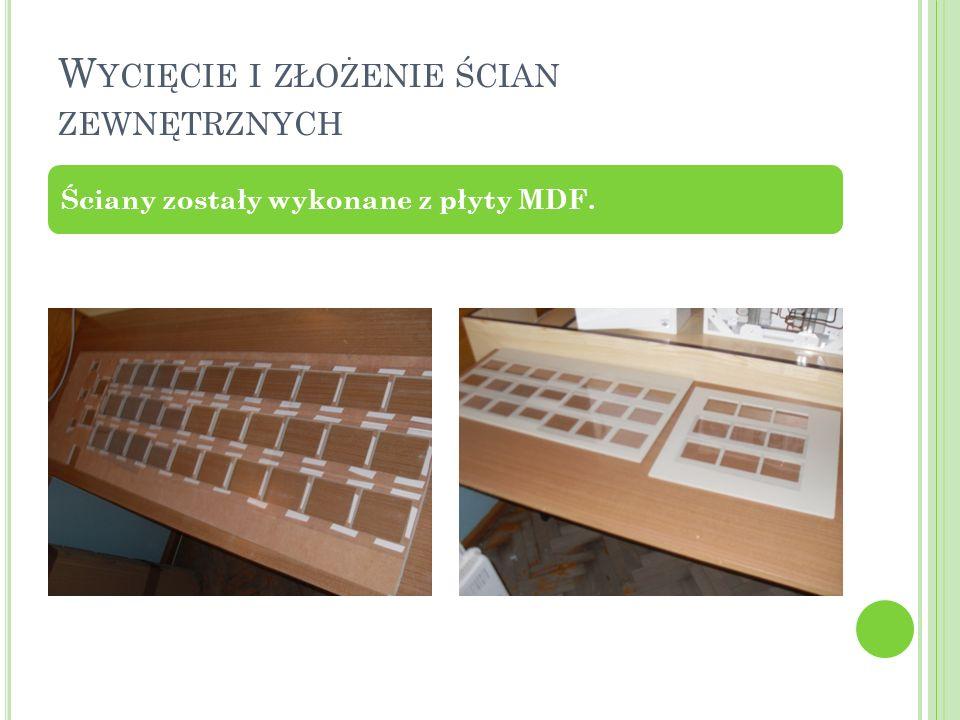 W YCIĘCIE I ZŁOŻENIE ŚCIAN ZEWNĘTRZNYCH Ściany zostały wykonane z płyty MDF.
