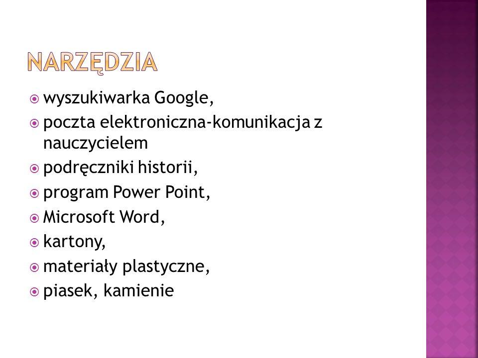 wyszukiwarka Google, poczta elektroniczna-komunikacja z nauczycielem podręczniki historii, program Power Point, Microsoft Word, kartony, materiały pla