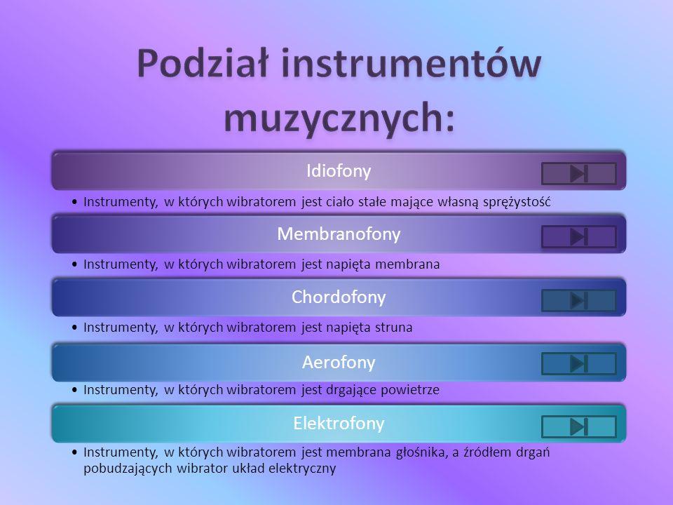 Idiofony Instrumenty, w których wibratorem jest ciało stałe mające własną sprężystość Membranofony Instrumenty, w których wibratorem jest napięta membrana Chordofony Instrumenty, w których wibratorem jest napięta struna Aerofony Instrumenty, w których wibratorem jest drgające powietrze Elektrofony Instrumenty, w których wibratorem jest membrana głośnika, a źródłem drgań pobudzających wibrator układ elektryczny