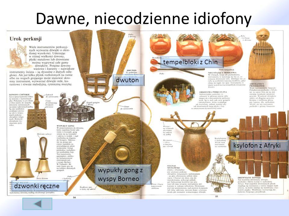 Dawne, niecodzienne idiofony tempelbloki z Chin ksylofon z Afryki dwuton dzwonki ręczne wypukły gong z wyspy Borneo