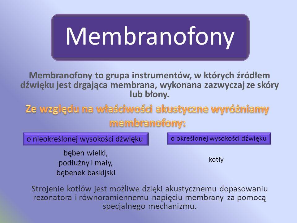 Membranofony Membranofony to grupa instrumentów, w których źródłem dźwięku jest drgająca membrana, wykonana zazwyczaj ze skóry lub błony.
