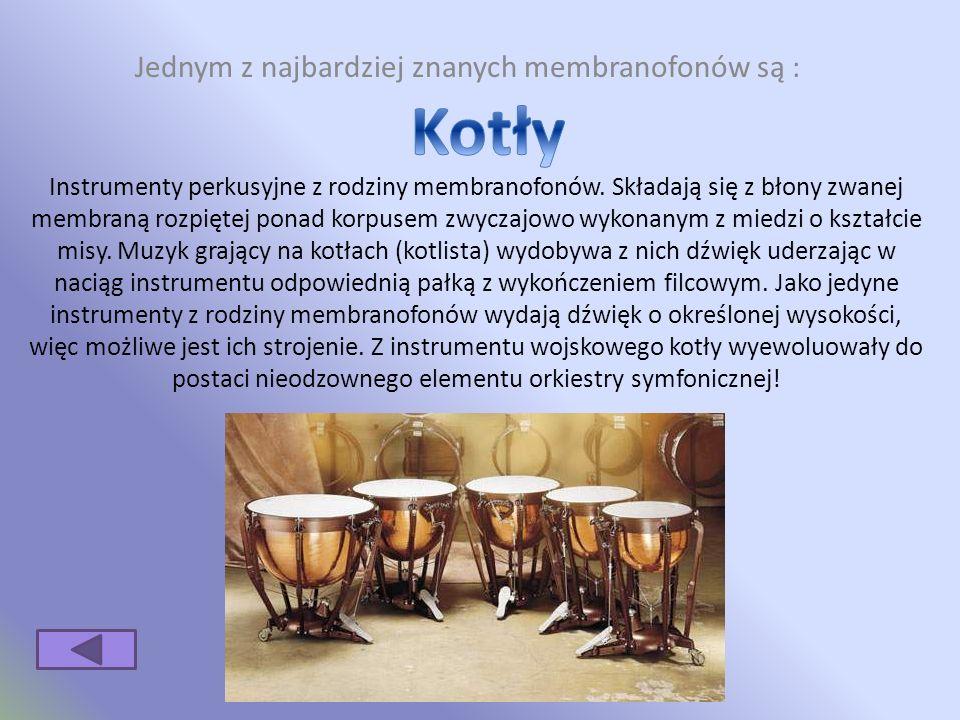 Jednym z najbardziej znanych membranofonów są : Instrumenty perkusyjne z rodziny membranofonów.