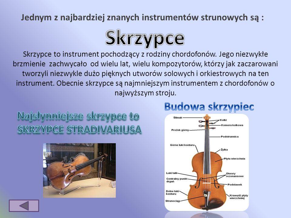 Jednym z najbardziej znanych instrumentów strunowych są : Skrzypce to instrument pochodzący z rodziny chordofonów.