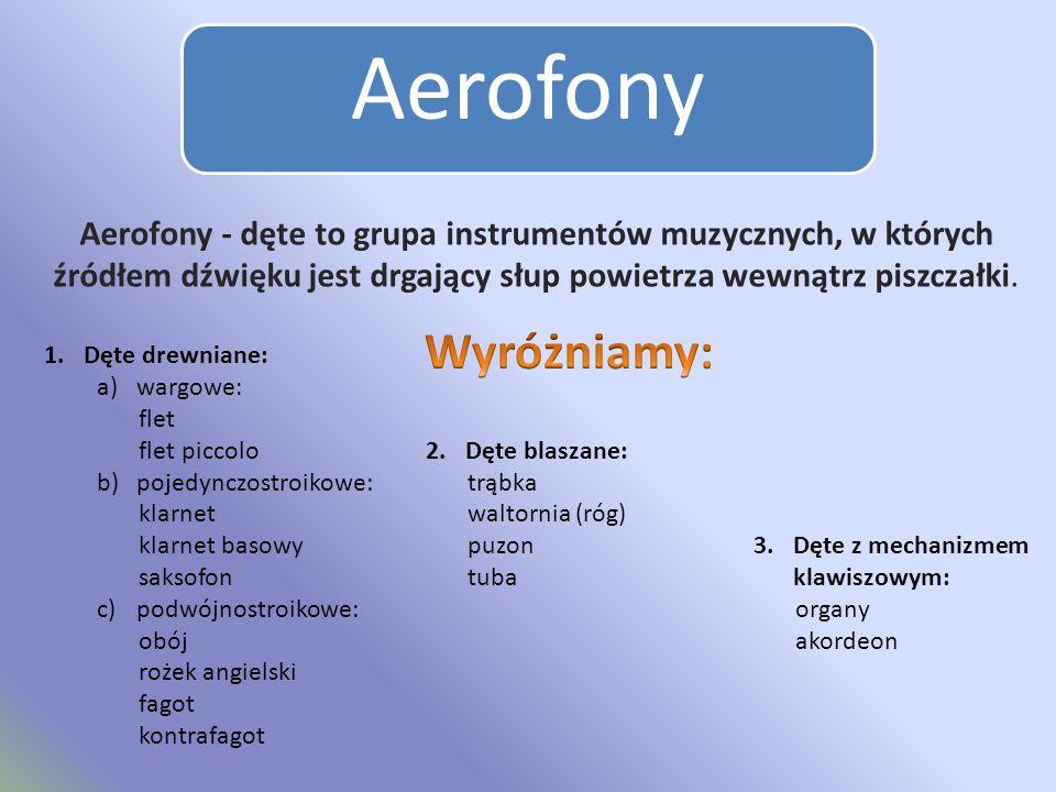 Aerofony Aerofony - dęte to grupa instrumentów muzycznych, w których źródłem dźwięku jest drgający słup powietrza wewnątrz piszczałki.