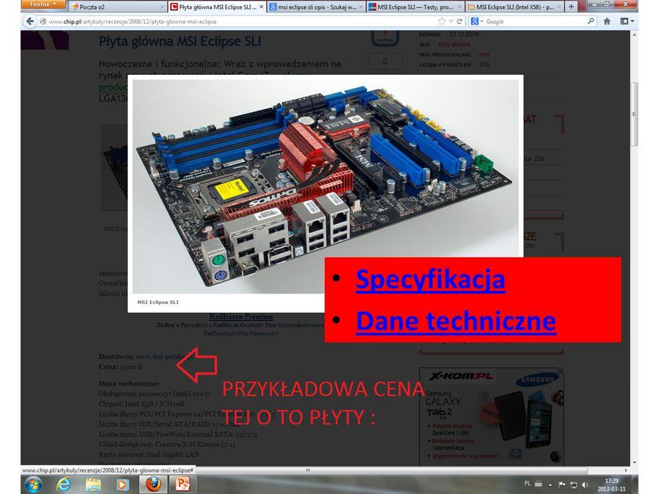 Specyfikacja Dane techniczne
