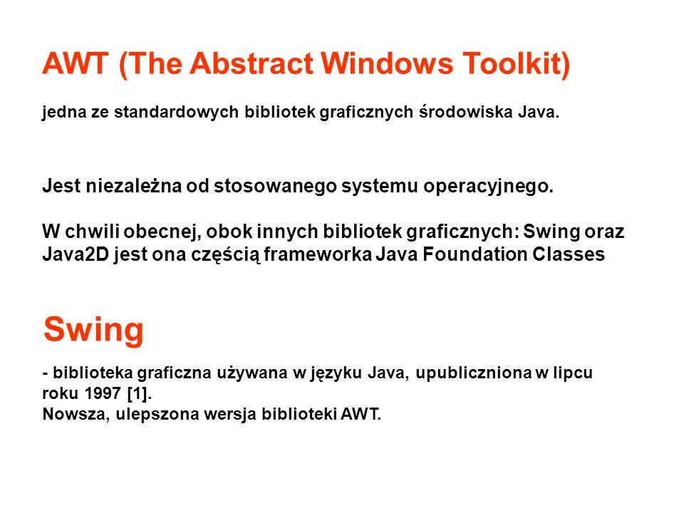 AWT (The Abstract Windows Toolkit) jedna ze standardowych bibliotek graficznych środowiska Java. - biblioteka graficzna używana w języku Java, upublic