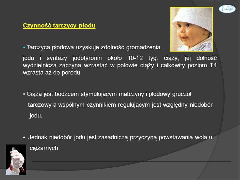 Czynność tarczycy płodu Tarczyca płodowa uzyskuje zdolność gromadzenia jodu i syntezy jodotyronin około 10-12 tyg. ciąży; jej dolność wydzielnicza zac
