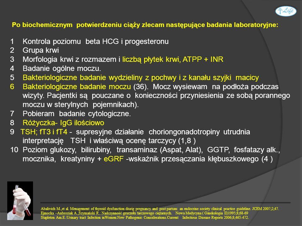 Po biochemicznym potwierdzeniu ciąży zlecam następujące badania laboratoryjne: 1 Kontrola poziomu beta HCG i progesteronu 2 Grupa krwi 3 Morfologia kr