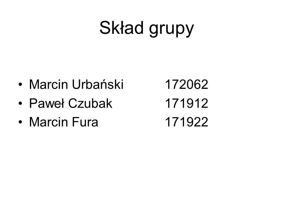 Skład grupy Marcin Urbański172062 Paweł Czubak171912 Marcin Fura171922