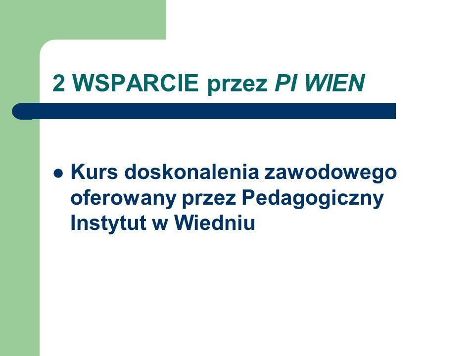 2 WSPARCIE przez PI WIEN Kurs doskonalenia zawodowego oferowany przez Pedagogiczny Instytut w Wiedniu