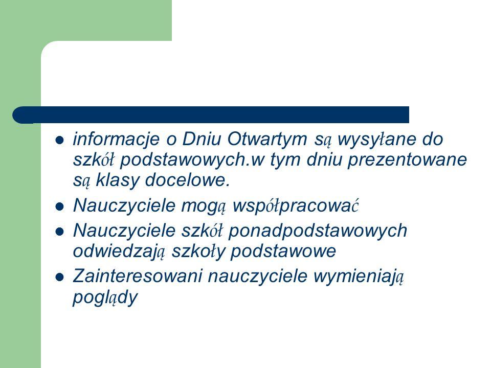 informacje o Dniu Otwartym s ą wysy ł ane do szk ół podstawowych.w tym dniu prezentowane s ą klasy docelowe.