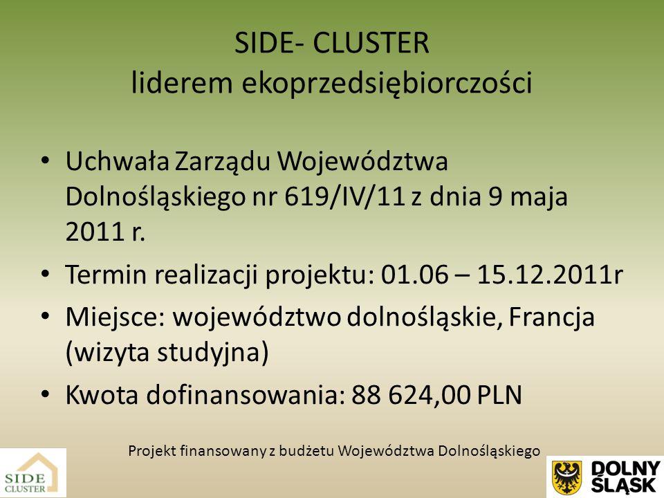 Zadania realizowane w ramach projektu: 1.Szkolenia dotyczące rozwoju współpracy członków SIDE- CLUSTER -3 jednodniowe szkolenia dla członków klastra mające na celu rozwój współpracy pomiędzy członkami klastra, opracowanie strategii działania klastra, wyznaczanie ścieżek współpracy.