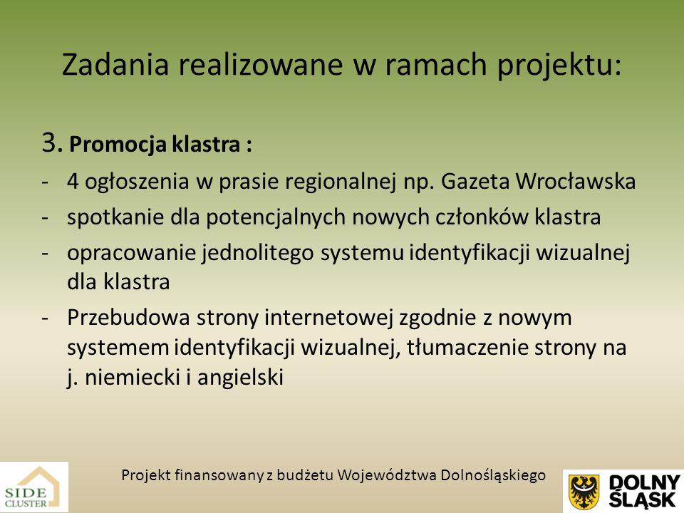 Zadania realizowane w ramach projektu: 3. Promocja klastra : -4 ogłoszenia w prasie regionalnej np. Gazeta Wrocławska -spotkanie dla potencjalnych now