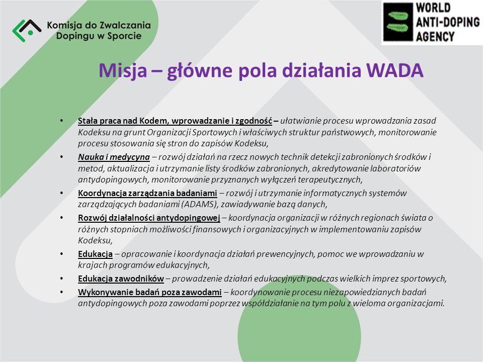 Struktura Organizacyjna WADA WADA składa się z Rady Fundacji, Komitetu Wykonawczego oraz wielu Komitetów roboczych, Komitety Robocze Komitet Zawodnicz