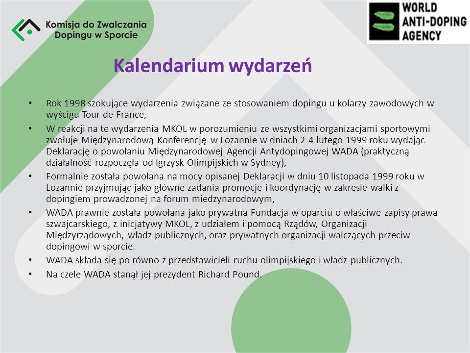 Światowa Agencja Antydopingowa (WADA) Jest to międzynarodowa niezależna Organizacja odpowiedzialna za promocję, koordynację i monitorowanie wszystkich