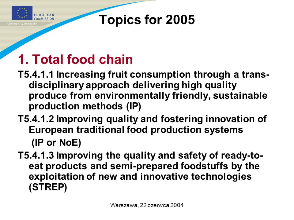 Warszawa, 22 czerwca 2004 Topics for 2005 1. Total food chain T5.4.1.1 Increasing fruit consumption through a trans- disciplinary approach delivering