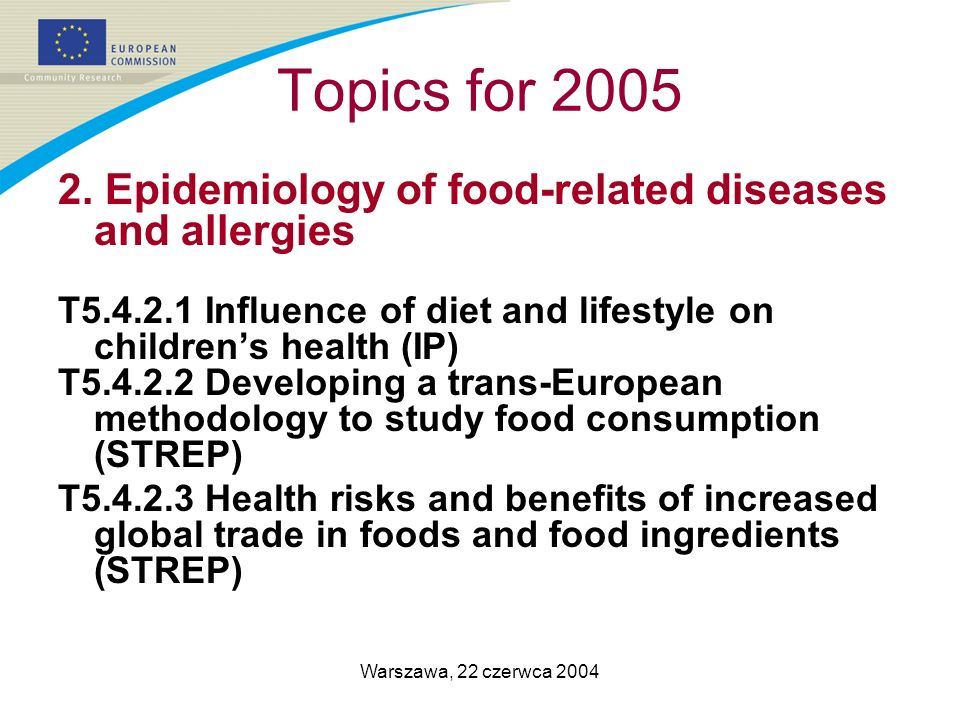 Warszawa, 22 czerwca 2004 Topics for 2005 2. Epidemiology of food-related diseases and allergies T5.4.2.1 Influence of diet and lifestyle on childrens