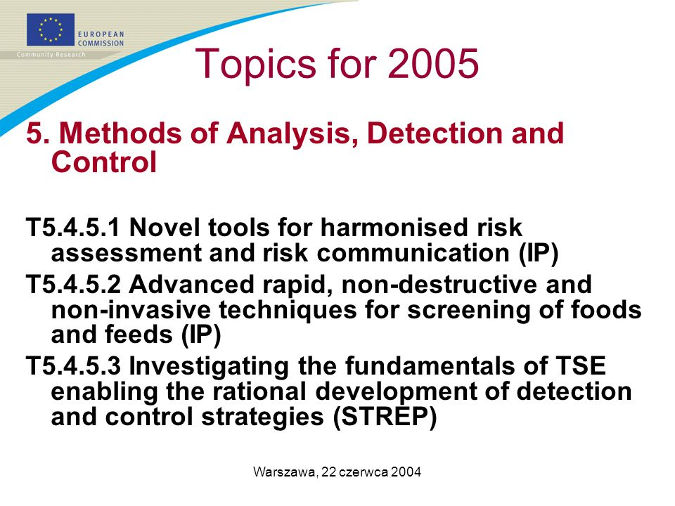 Warszawa, 22 czerwca 2004 Topics for 2005 5. Methods of Analysis, Detection and Control T5.4.5.1 Novel tools for harmonised risk assessment and risk c