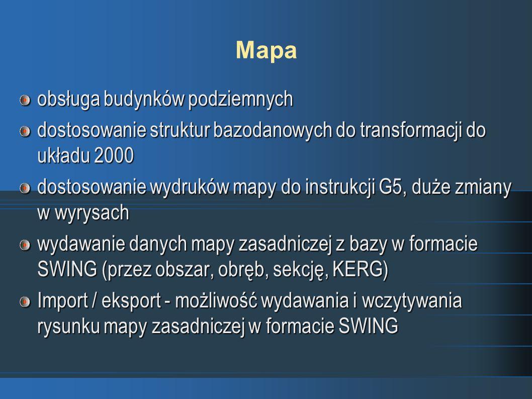 Mapa obsługa budynków podziemnych dostosowanie struktur bazodanowych do transformacji do układu 2000 dostosowanie wydruków mapy do instrukcji G5, duże zmiany w wyrysach wydawanie danych mapy zasadniczej z bazy w formacie SWING (przez obszar, obręb, sekcję, KERG) Import / eksport - możliwość wydawania i wczytywania rysunku mapy zasadniczej w formacie SWING