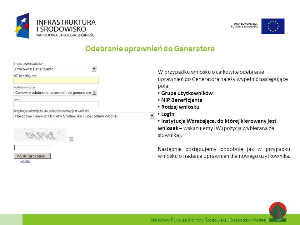 Narodowy Fundusz Ochrony Środowiska i Gospodarki Wodnej UNIA EUROPEJSKA FUNDUSZ SPÓJNOŚCI W przypadku wniosku o całkowite odebranie uprawnień do Gener