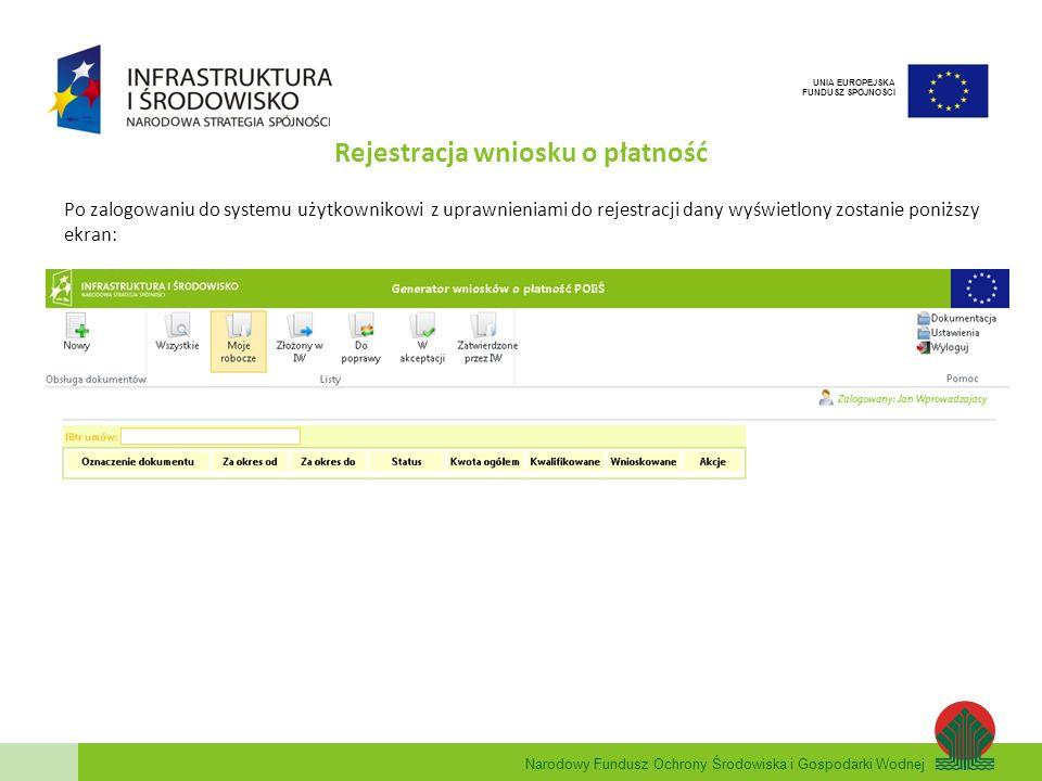 Narodowy Fundusz Ochrony Środowiska i Gospodarki Wodnej UNIA EUROPEJSKA FUNDUSZ SPÓJNOŚCI Rejestracja wniosku o płatność Po zalogowaniu do systemu uży