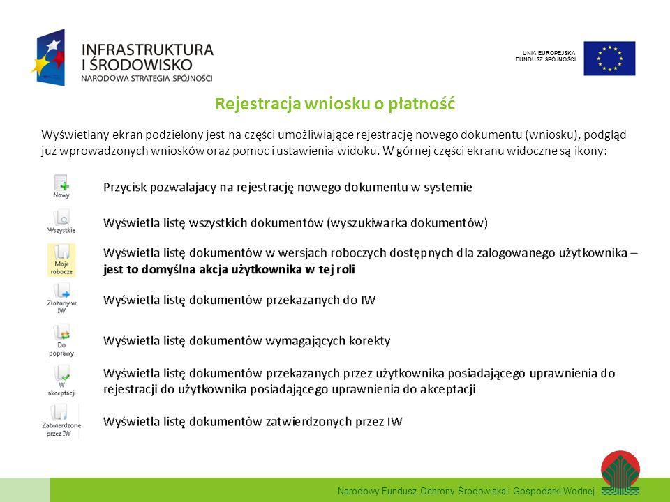 Narodowy Fundusz Ochrony Środowiska i Gospodarki Wodnej UNIA EUROPEJSKA FUNDUSZ SPÓJNOŚCI Rejestracja wniosku o płatność Wyświetlany ekran podzielony