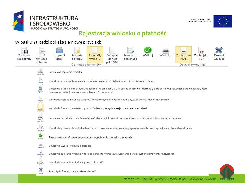 Narodowy Fundusz Ochrony Środowiska i Gospodarki Wodnej UNIA EUROPEJSKA FUNDUSZ SPÓJNOŚCI Rejestracja wniosku o płatność W pasku narzędzi pokażą się n