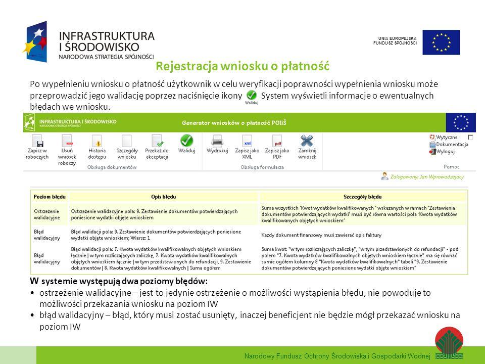 Narodowy Fundusz Ochrony Środowiska i Gospodarki Wodnej UNIA EUROPEJSKA FUNDUSZ SPÓJNOŚCI Rejestracja wniosku o płatność Po wypełnieniu wniosku o płat