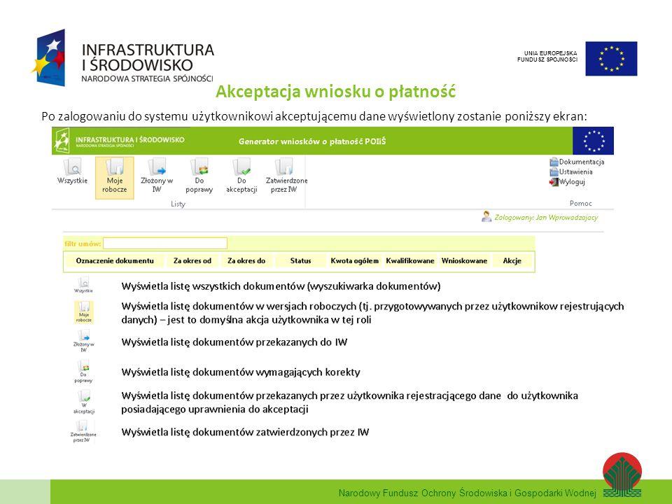 Narodowy Fundusz Ochrony Środowiska i Gospodarki Wodnej UNIA EUROPEJSKA FUNDUSZ SPÓJNOŚCI Akceptacja wniosku o płatność Po zalogowaniu do systemu użyt