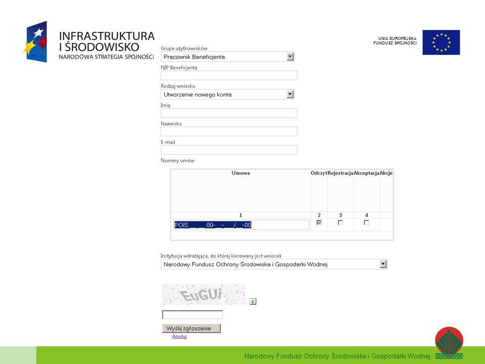 Narodowy Fundusz Ochrony Środowiska i Gospodarki Wodnej UNIA EUROPEJSKA FUNDUSZ SPÓJNOŚCI Zakładanie kont użytkowników W przypadku składania wniosku o nadanie uprawnień przez Beneficjenta wypełniamy następujące pola: Grupa użytkowników – należy wybrać – Pracownik Beneficjenta NIP beneficjenta – ciąg 10 znaków (bez myślników) Rodzaj wniosku – wybieramy – Utworzenie nowego konta Imię użytkownika Nazwisko użytkownika Adres e-mail Numer Umowy (-ów) – wprowadzamy numer umowy (lub umów) i zaznaczamy uprawnienia jakie mają zostać nadane.