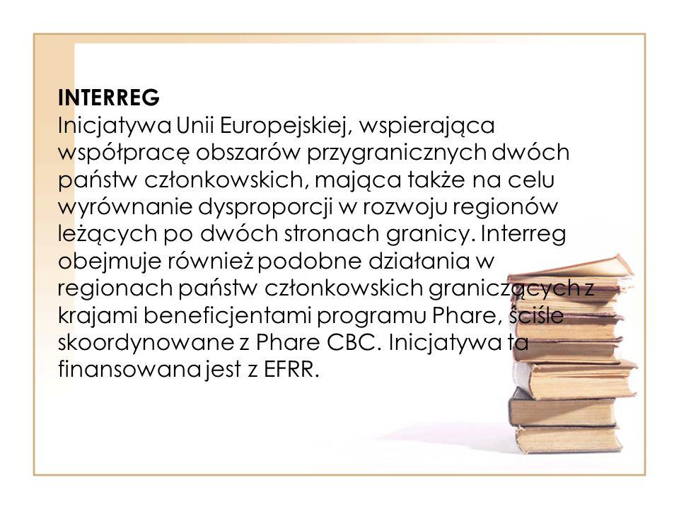 INTERREG Inicjatywa Unii Europejskiej, wspierająca współpracę obszarów przygranicznych dwóch państw członkowskich, mająca także na celu wyrównanie dys