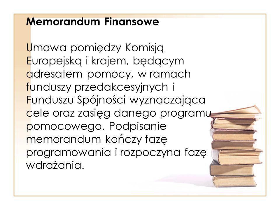 Memorandum Finansowe Umowa pomiędzy Komisją Europejską i krajem, będącym adresatem pomocy, w ramach funduszy przedakcesyjnych i Funduszu Spójności wyz
