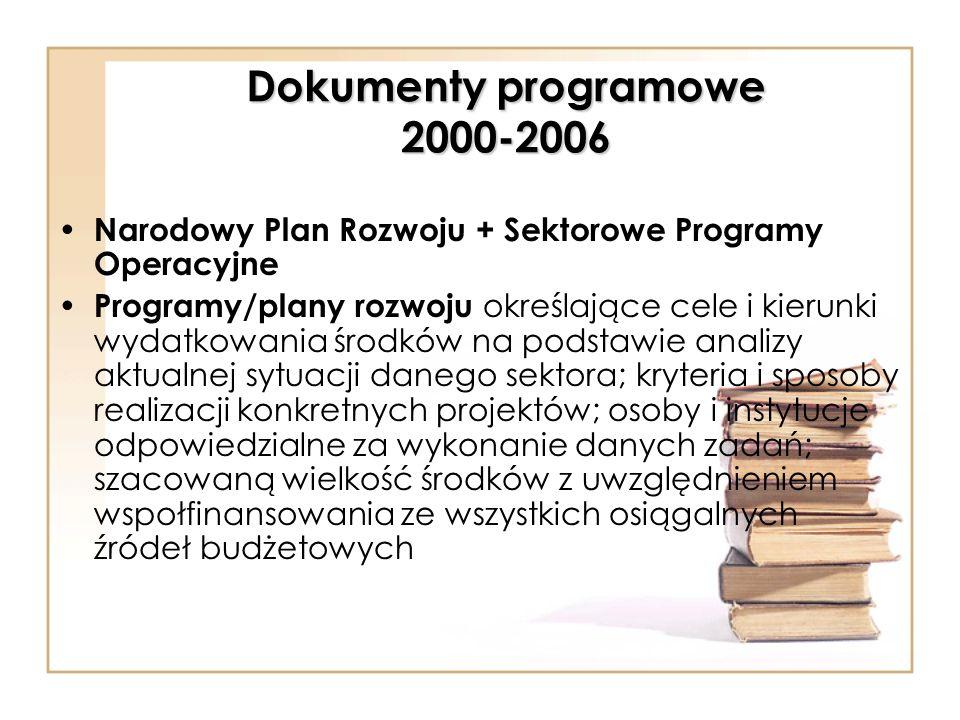 Dokumenty programowe 2000-2006 Narodowy Plan Rozwoju + Sektorowe Programy Operacyjne Programy/plany rozwoju określające cele i kierunki wydatkowania ś