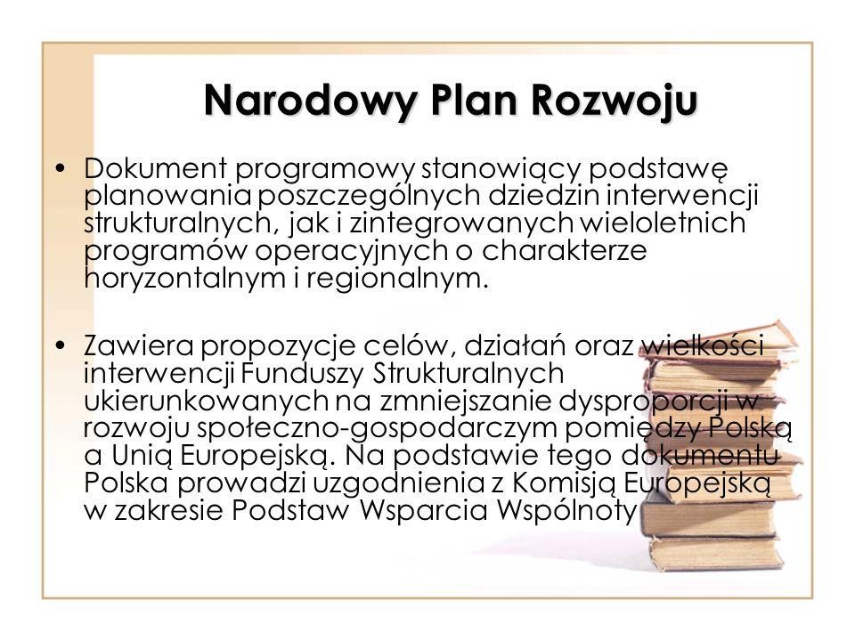 Narodowy Plan Rozwoju Dokument programowy stanowiący podstawę planowania poszczególnych dziedzin interwencji strukturalnych, jak i zintegrowanych wiel