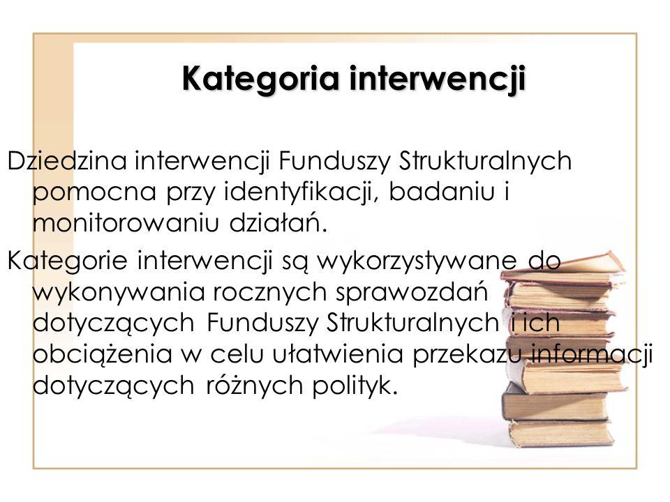 Kategoria interwencji Dziedzina interwencji Funduszy Strukturalnych pomocna przy identyfikacji, badaniu i monitorowaniu działań. Kategorie interwencji