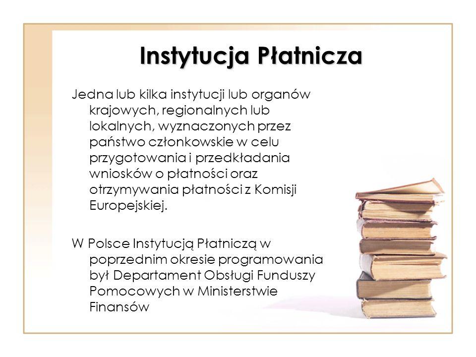 Instytucja Płatnicza Jedna lub kilka instytucji lub organów krajowych, regionalnych lub lokalnych, wyznaczonych przez państwo członkowskie w celu przy