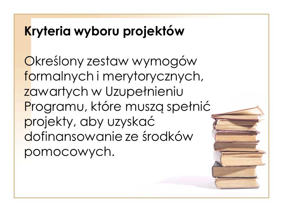 Kryteria wyboru projektów Określony zestaw wymogów formalnych i merytorycznych, zawartych w Uzupełnieniu Programu, które muszą spełnić projekty, aby u