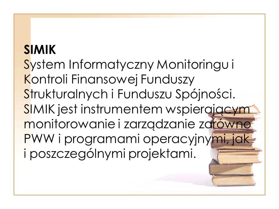 SIMIK System Informatyczny Monitoringu i Kontroli Finansowej Funduszy Strukturalnych i Funduszu Spójności. SIMIK jest instrumentem wspierającym monito