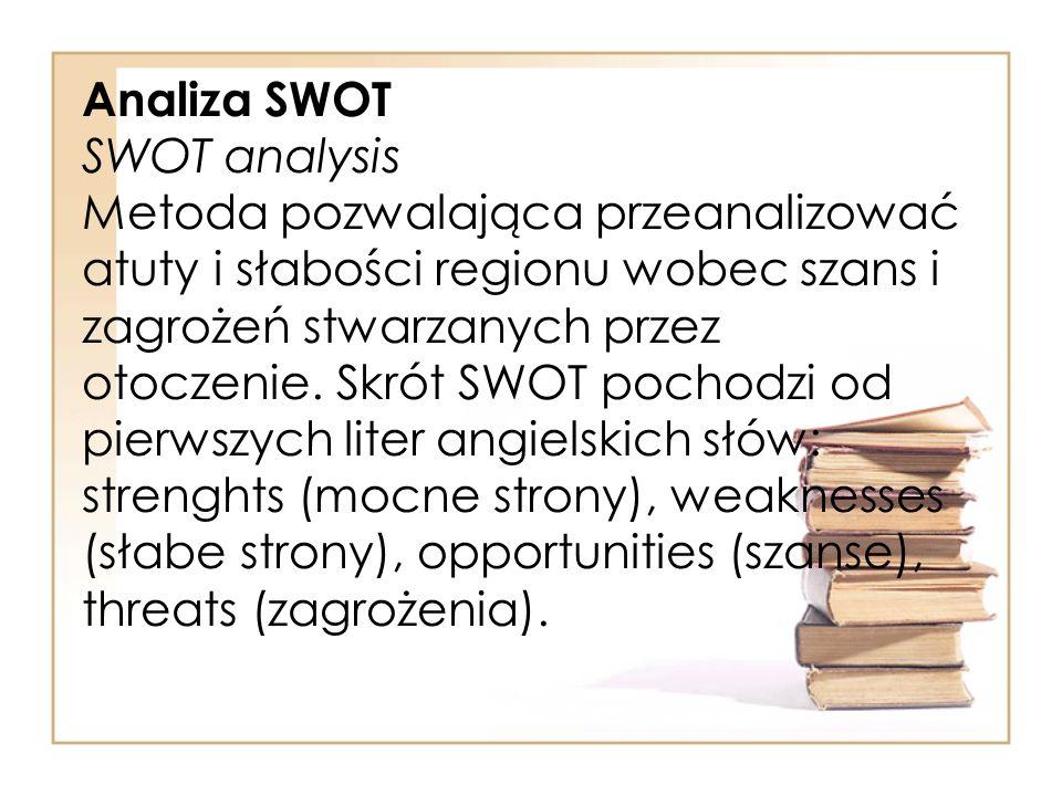 Analiza SWOT SWOT analysis Metoda pozwalająca przeanalizować atuty i słabości regionu wobec szans i zagrożeń stwarzanych przez otoczenie. Skrót SWOT p