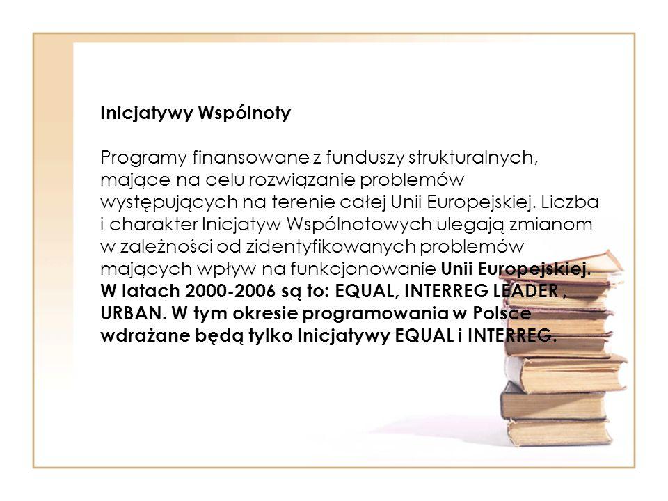 Inicjatywy Wspólnoty Programy finansowane z funduszy strukturalnych, mające na celu rozwiązanie problemów występujących na terenie całej Unii Europejs