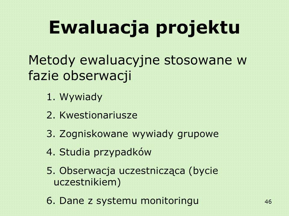 45 Ewaluacja projektu Metody ewaluacyjne stosowane w fazie strukturyzacji: 1. Analiza SWOT 2. Matryca logiczna 3. Metaplan 4. Mapa oddziaływania