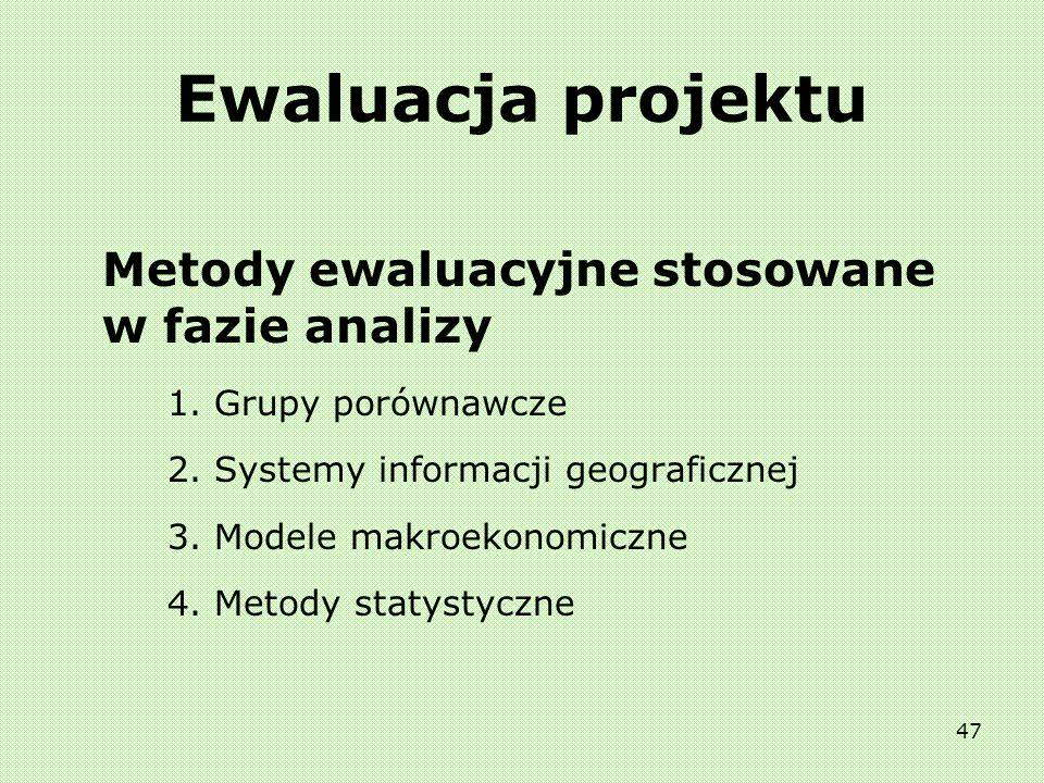 46 Ewaluacja projektu Metody ewaluacyjne stosowane w fazie obserwacji 1. Wywiady 2. Kwestionariusze 3. Zogniskowane wywiady grupowe 4. Studia przypadk