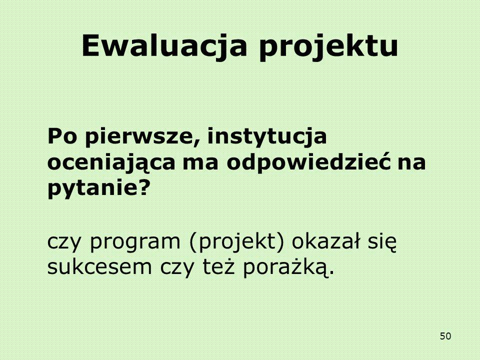 49 Ewaluacja projektu Czym jest ocena (ewaluacja)? przez ocenę (ewaluację) polityki, programu lub projektu należy rozumieć określenie wartości polityk