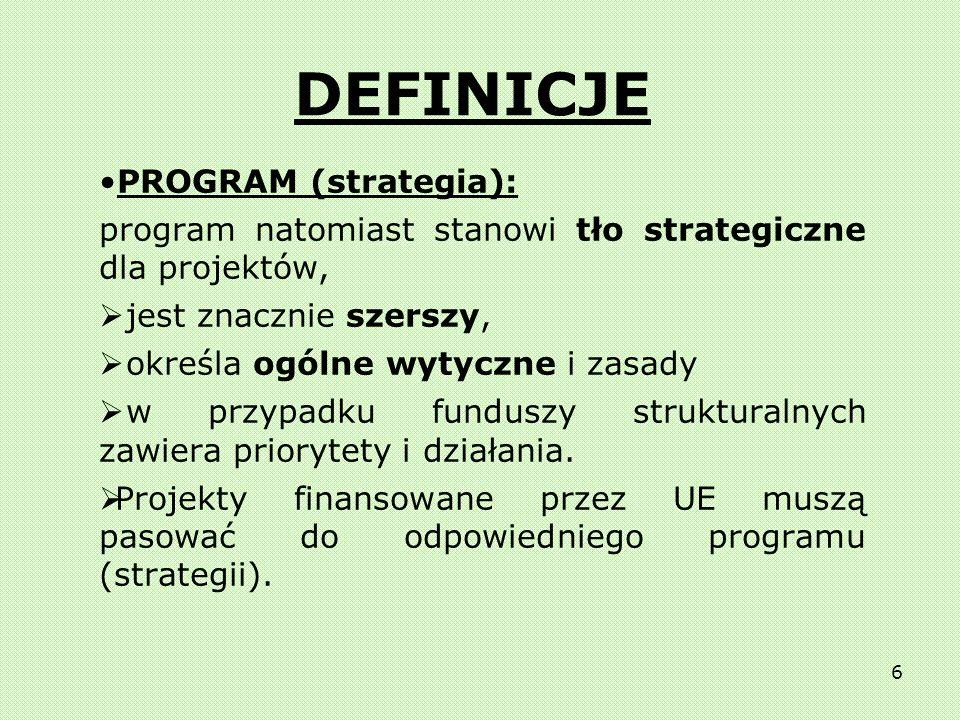 5 Projekt jest: Konkretnym działaniem w specyficznym sektorze/obszarze Realizowany przez ludzi w organizacjach (prywatnych lub publicznych) Skrępowany