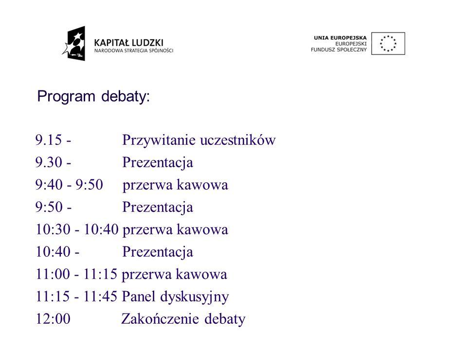 Program debaty: 9.15 - Przywitanie uczestników 9.30 - Prezentacja 9:40 - 9:50 przerwa kawowa 9:50 - Prezentacja 10:30 - 10:40 przerwa kawowa 10:40 - Prezentacja 11:00 - 11:15 przerwa kawowa 11:15 - 11:45 Panel dyskusyjny 12:00 Zakończenie debaty