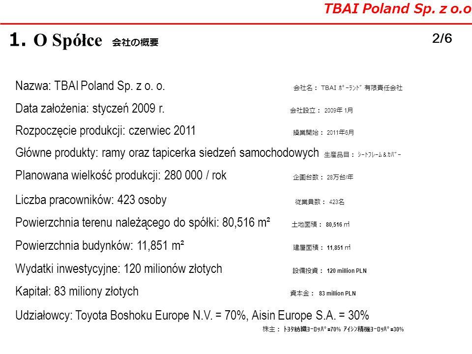 1. O Spółce TBAI Poland Sp. z o.o. 2/6 Nazwa: TBAI Poland Sp. z o. o. TBAI Data założenia: styczeń 2009 r. 2009 1 Główne produkty: ramy oraz tapicerka