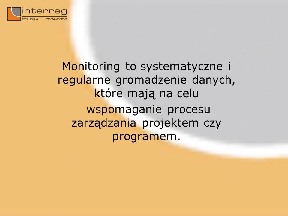 Monitoring to systematyczne i regularne gromadzenie danych, które mają na celu wspomaganie procesu zarządzania projektem czy programem.