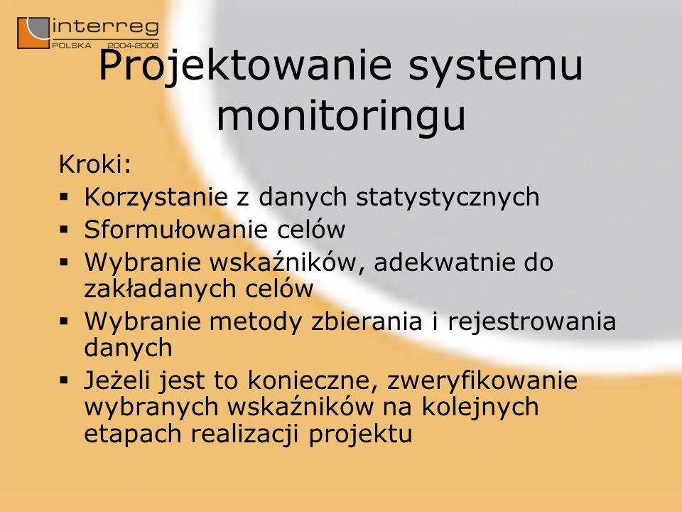 Projektowanie systemu monitoringu Kroki: Korzystanie z danych statystycznych Sformułowanie celów Wybranie wskaźników, adekwatnie do zakładanych celów Wybranie metody zbierania i rejestrowania danych Jeżeli jest to konieczne, zweryfikowanie wybranych wskaźników na kolejnych etapach realizacji projektu
